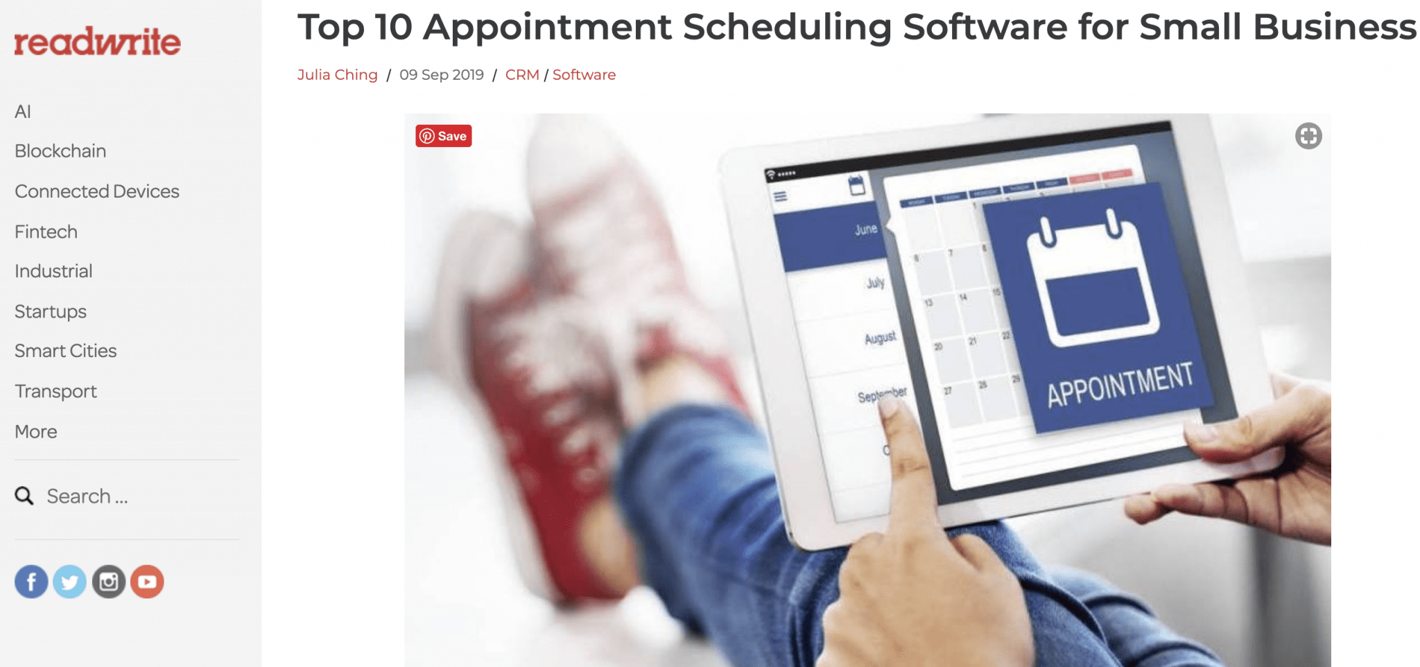 Appointment Recognized as Top Scheduling App For Small Business by ReadWrite
